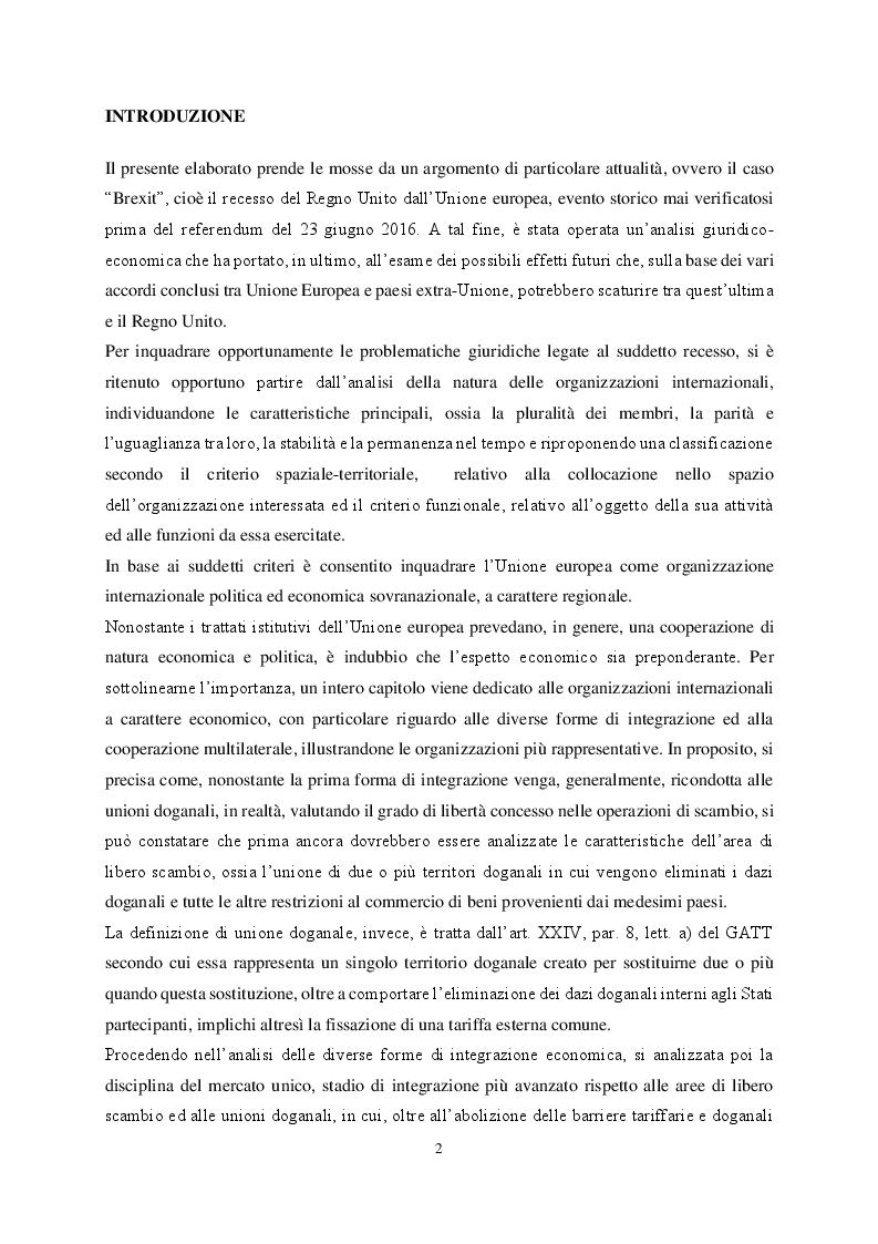 Anteprima della tesi: Le organizzazioni di integrazione economica regionale e la disciplina del recesso: il caso Brexit, Pagina 2