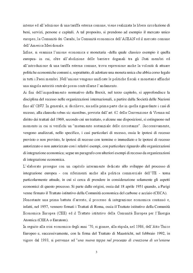Anteprima della tesi: Le organizzazioni di integrazione economica regionale e la disciplina del recesso: il caso Brexit, Pagina 3