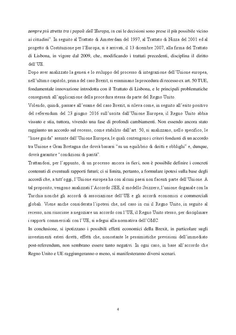 Anteprima della tesi: Le organizzazioni di integrazione economica regionale e la disciplina del recesso: il caso Brexit, Pagina 4