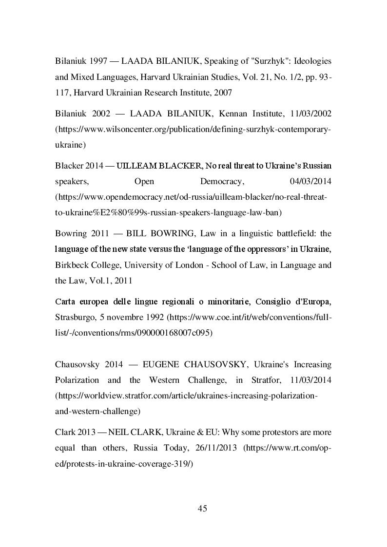 Estratto dalla tesi: La questione linguistica in Ucraina