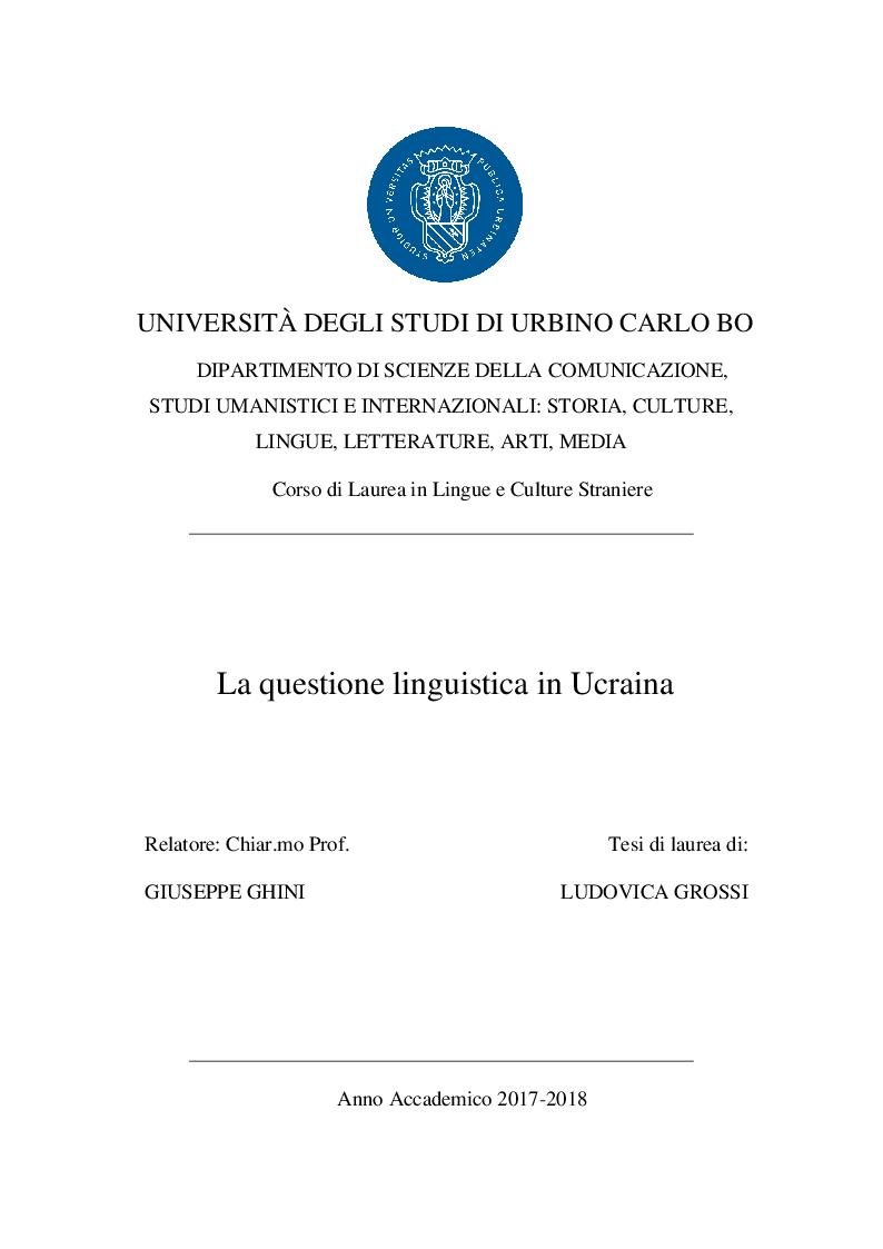 Anteprima della tesi: La questione linguistica in Ucraina, Pagina 1