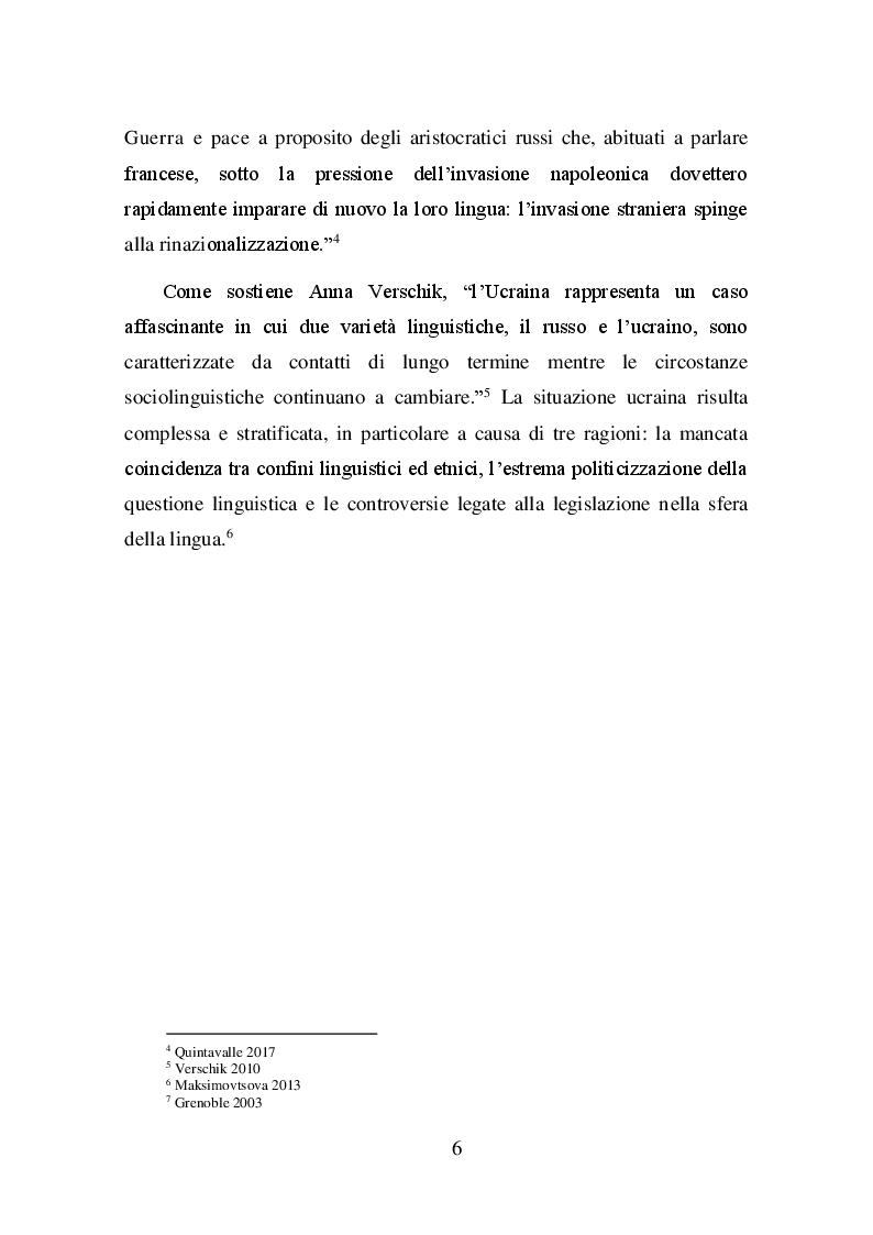 Anteprima della tesi: La questione linguistica in Ucraina, Pagina 6