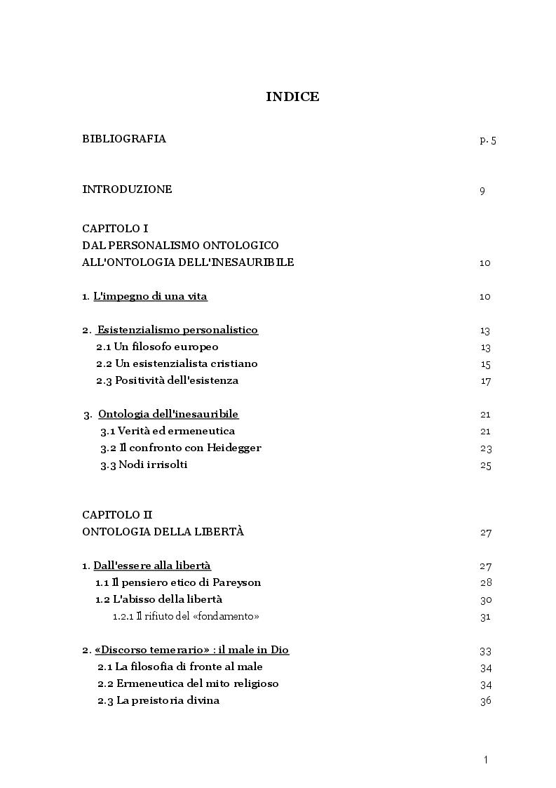 Indice della tesi: La libertà del male, il male della libertà. Una riflessione sul pensiero tragico di Luigi Pareyson in rapporto alla testimonianza biblica, Pagina 1