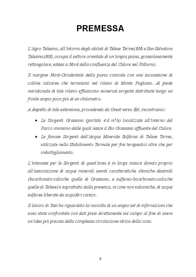 Anteprima della tesi: Elementi Idrogeologici delle Sorgenti di Monte Pugliano (Valle Telesina, BN), Pagina 2