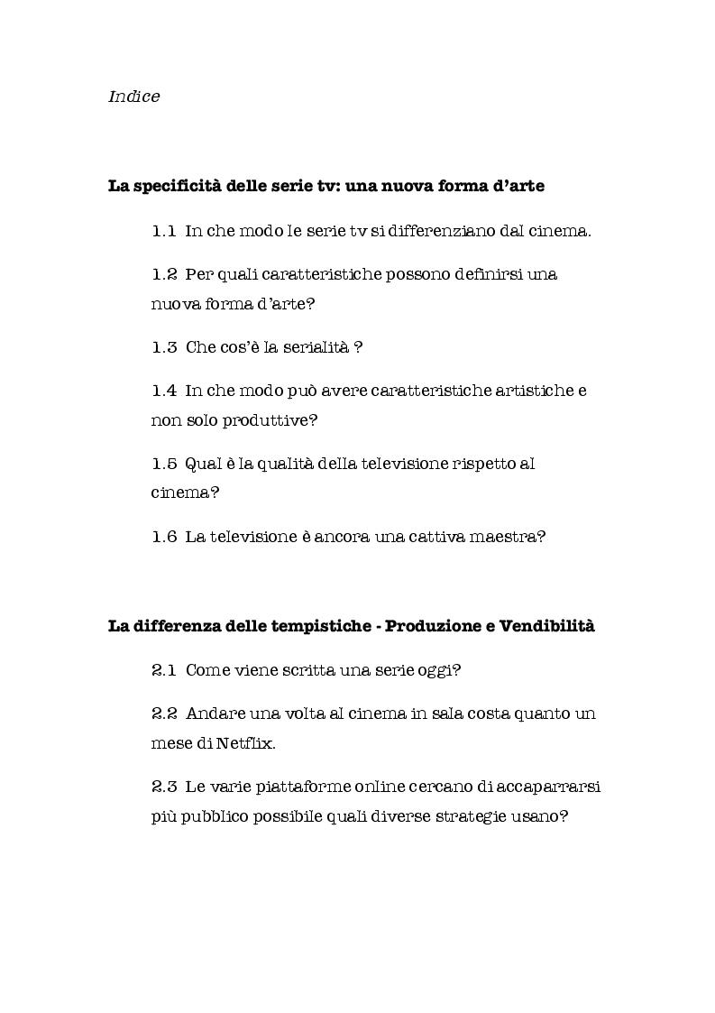 Indice della tesi: SERIE BATTE CINEMA: quali contenuti scegliamo? Come li guardiamo? E su quali schermi?, Pagina 1