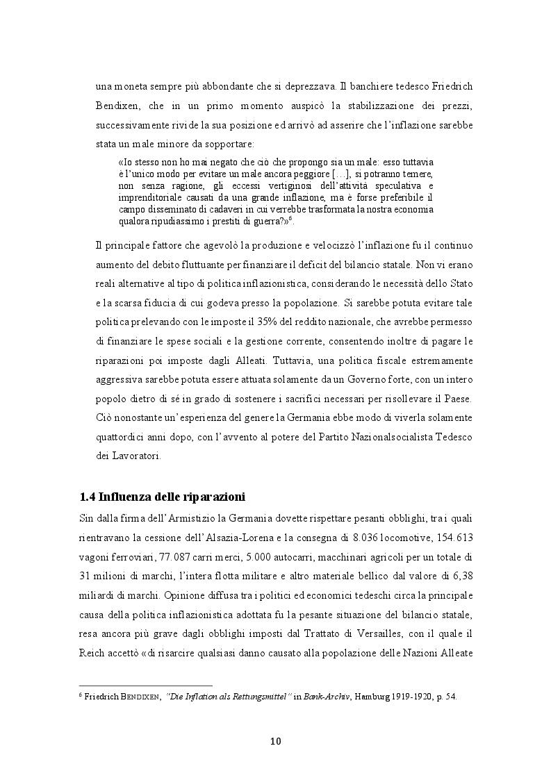 Estratto dalla tesi: Evoluzione dell'inflazione tedesca 1914-1923
