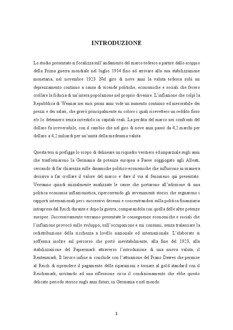 Anteprima della tesi: Evoluzione dell'inflazione tedesca 1914-1923, Pagina 2