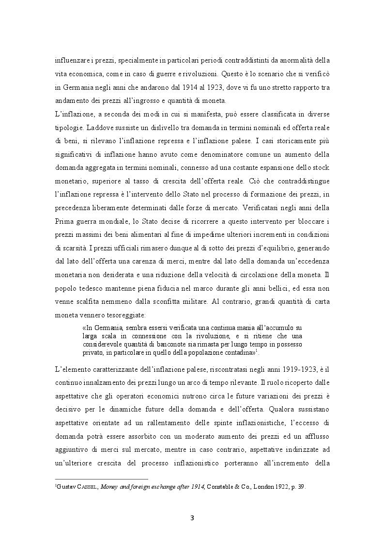 Anteprima della tesi: Evoluzione dell'inflazione tedesca 1914-1923, Pagina 4
