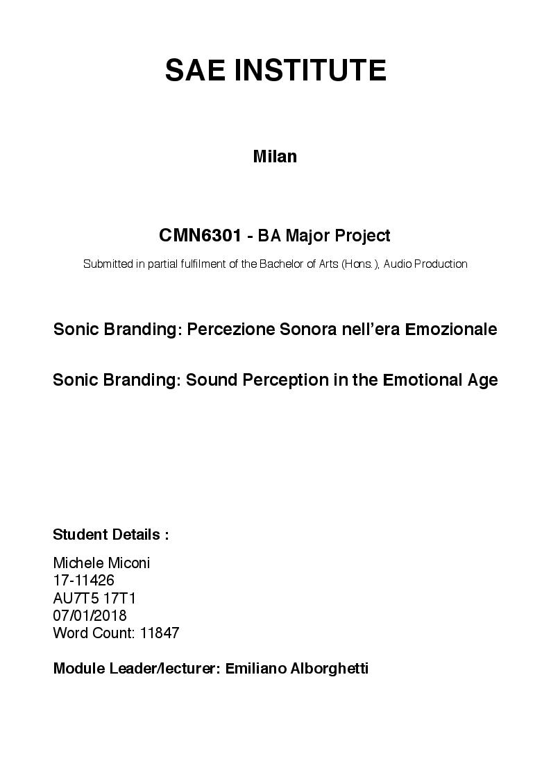 Anteprima della tesi: Sonic Branding: percezione sonora nell'era emozionale, Pagina 1