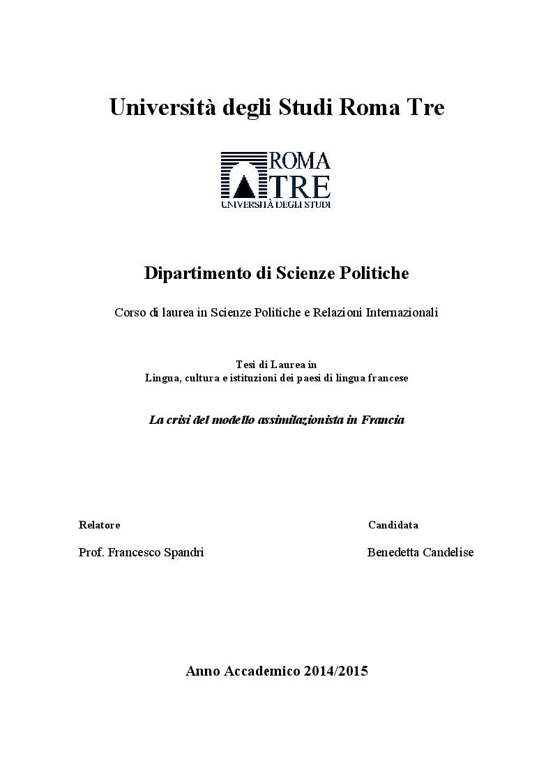 Anteprima della tesi: La crisi del modello assimilazionista in Francia, Pagina 1