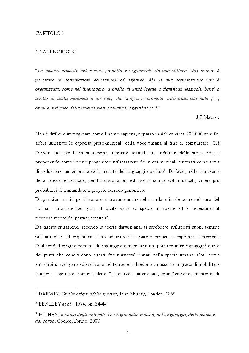 Anteprima della tesi: Le neuroscienze applicate alle funzioni musicali, Pagina 4