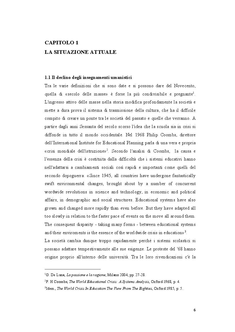Anteprima della tesi: L'insegnamento della Storia negli Istituti Secondari di Secondo Grado nell'Italia repubblicana, Pagina 4