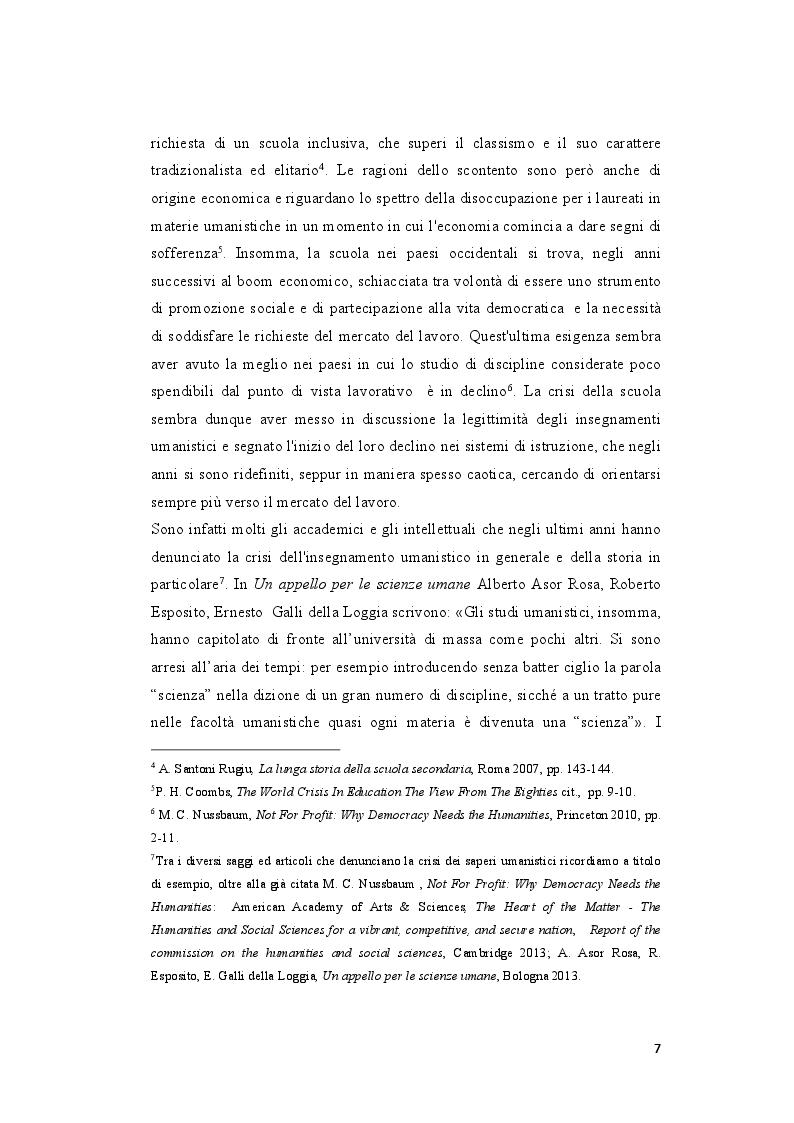 Anteprima della tesi: L'insegnamento della Storia negli Istituti Secondari di Secondo Grado nell'Italia repubblicana, Pagina 5