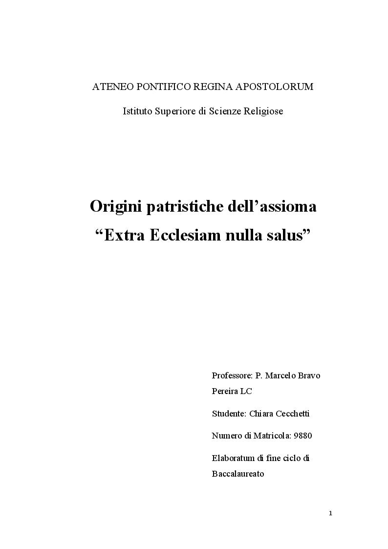 """Anteprima della tesi: Origini patristiche dell'assioma """"Extra Ecclesiam nulla salus"""", Pagina 1"""