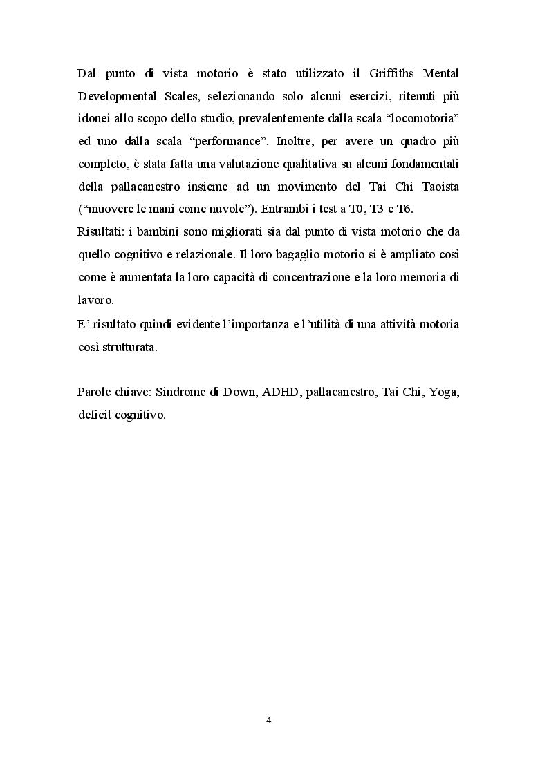 Anteprima della tesi: Basket - Yoga - Tai Chi per migliorare gli aspetti motori, cognitivi e relazionali nei bambini con Sindrome di Down, Pagina 3