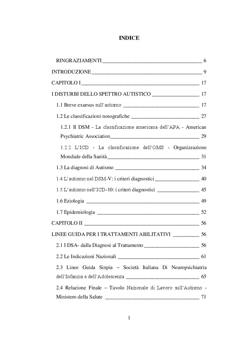 Indice della tesi: Il trattamento psicoeducativo nell'autismo: Denver Model e ABA a confronto, Pagina 1