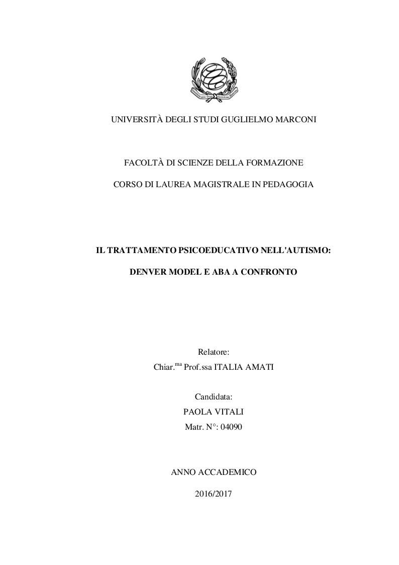 Anteprima della tesi: Il trattamento psicoeducativo nell'autismo: Denver Model e ABA a confronto, Pagina 1