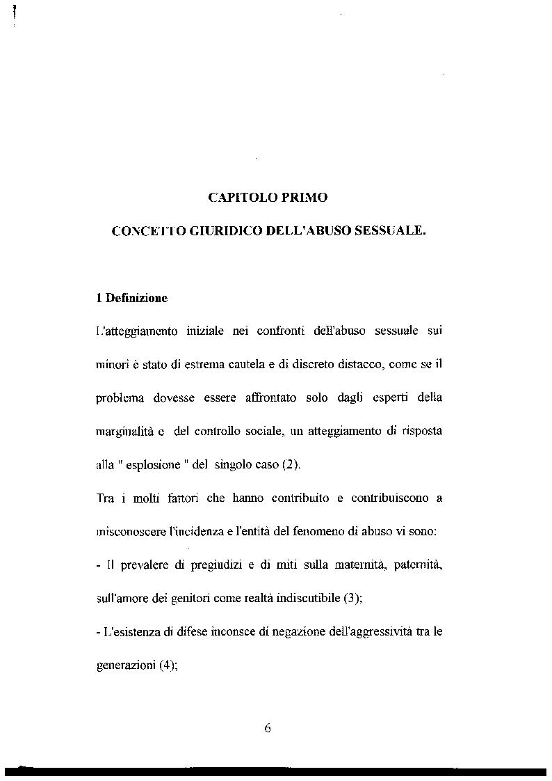 Anteprima della tesi: L'abuso sessuale sui minori: aspetti normativi e medico sociali., Pagina 1