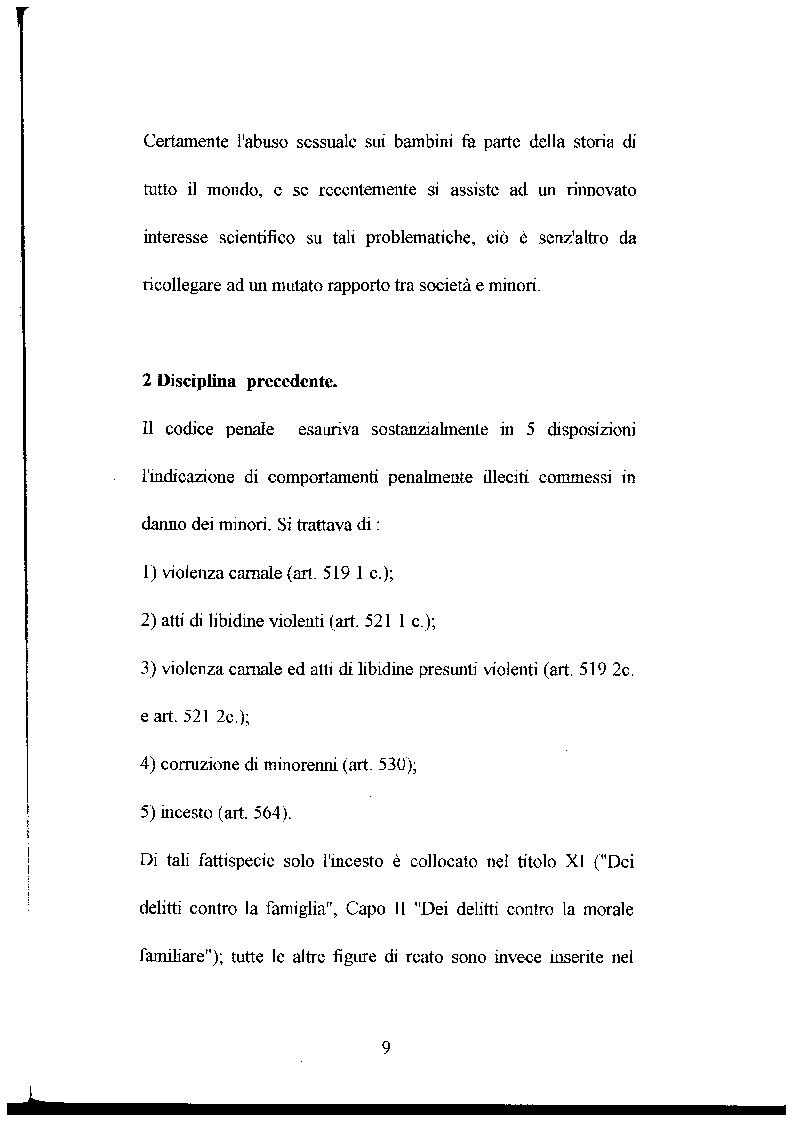 Anteprima della tesi: L'abuso sessuale sui minori: aspetti normativi e medico sociali., Pagina 4
