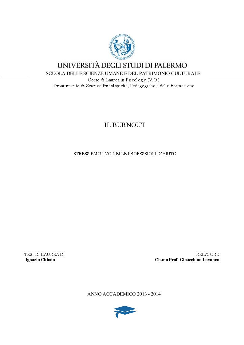 Anteprima della tesi: IL BURNOUT - Stress emotivo nelle professioni d'aiuto, Pagina 1