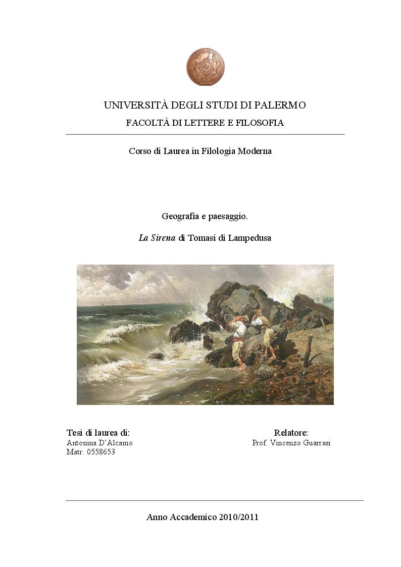 Anteprima della tesi: Geografia e paesaggio. La Sirena di Tomasi di Lampedusa., Pagina 1