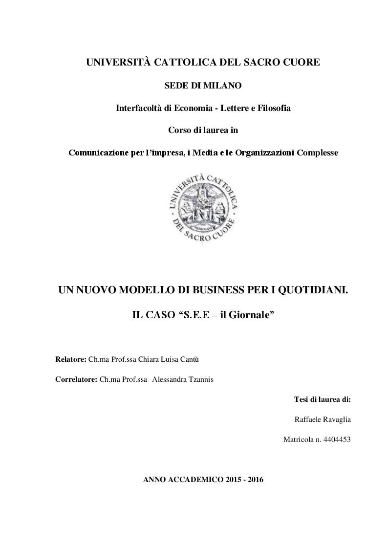 """Anteprima della tesi: Un nuovo modello di business per i quotidiani. Il caso """"S.E.E – il Giornale"""", Pagina 1"""