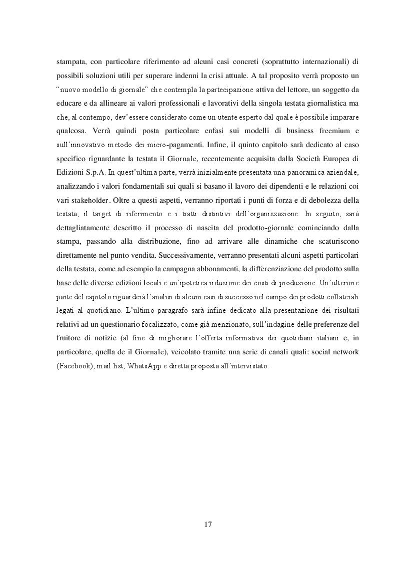 """Anteprima della tesi: Un nuovo modello di business per i quotidiani. Il caso """"S.E.E – il Giornale"""", Pagina 4"""