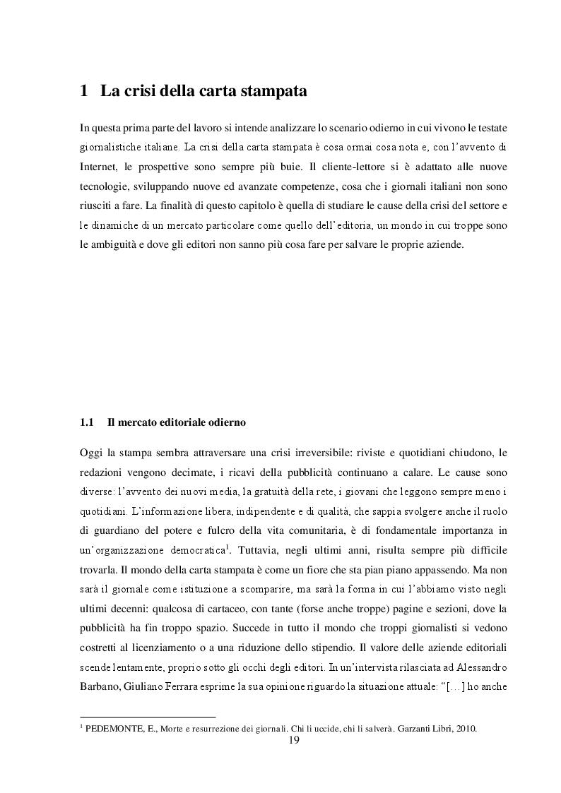"""Anteprima della tesi: Un nuovo modello di business per i quotidiani. Il caso """"S.E.E – il Giornale"""", Pagina 5"""