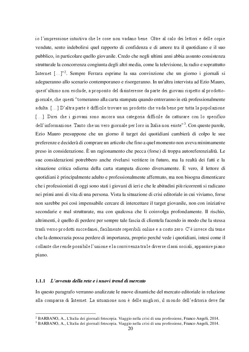 """Anteprima della tesi: Un nuovo modello di business per i quotidiani. Il caso """"S.E.E – il Giornale"""", Pagina 6"""
