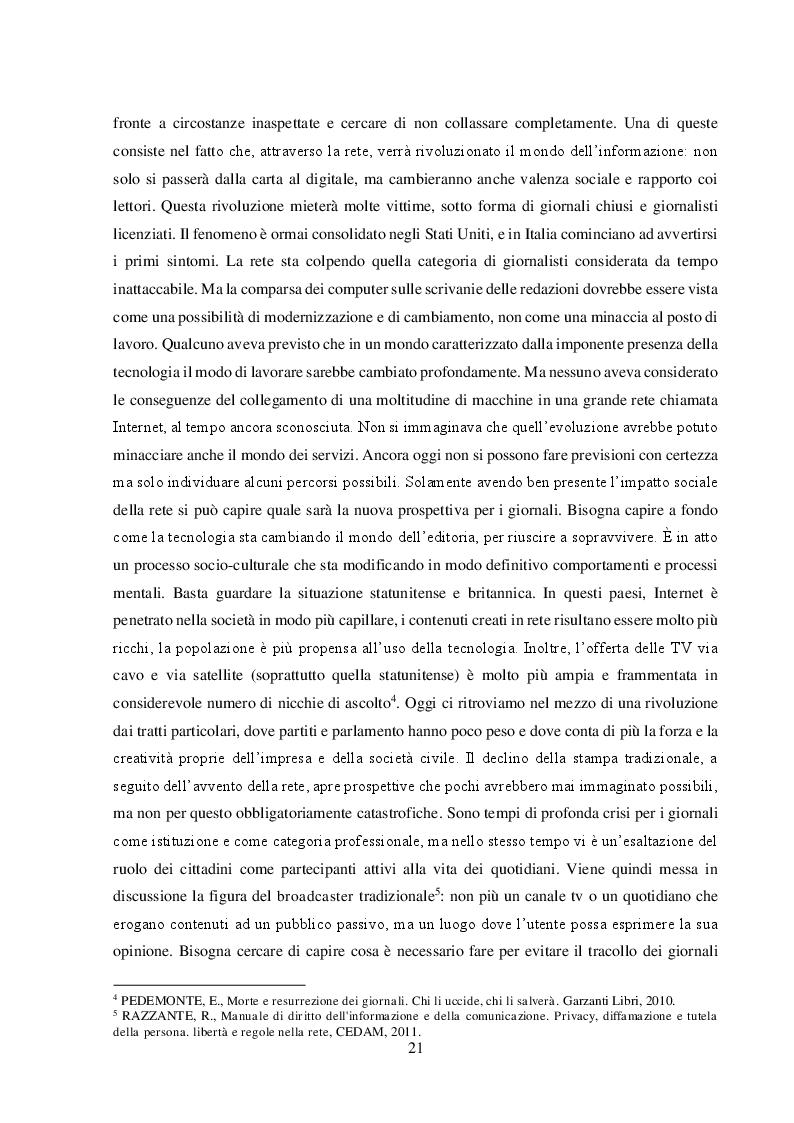 """Anteprima della tesi: Un nuovo modello di business per i quotidiani. Il caso """"S.E.E – il Giornale"""", Pagina 7"""