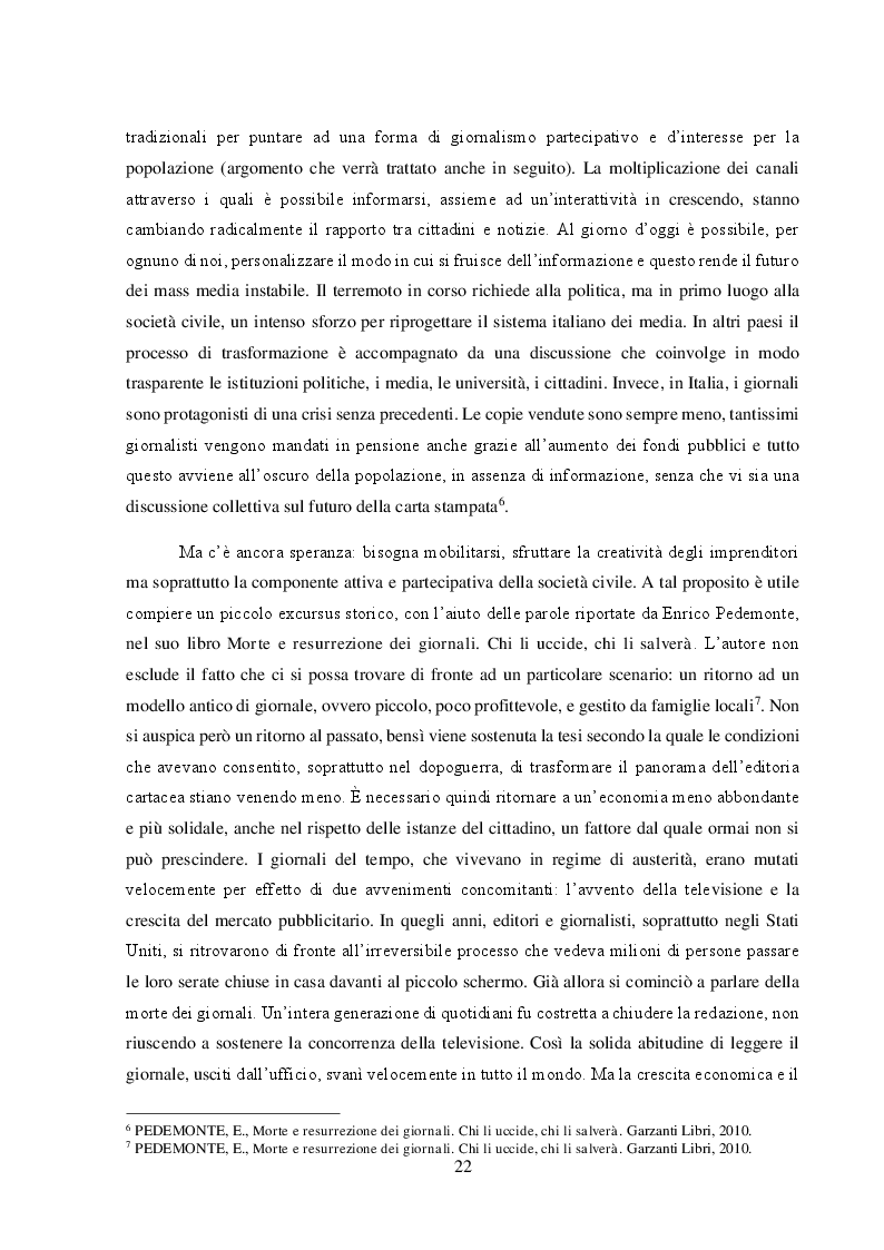 """Anteprima della tesi: Un nuovo modello di business per i quotidiani. Il caso """"S.E.E – il Giornale"""", Pagina 8"""