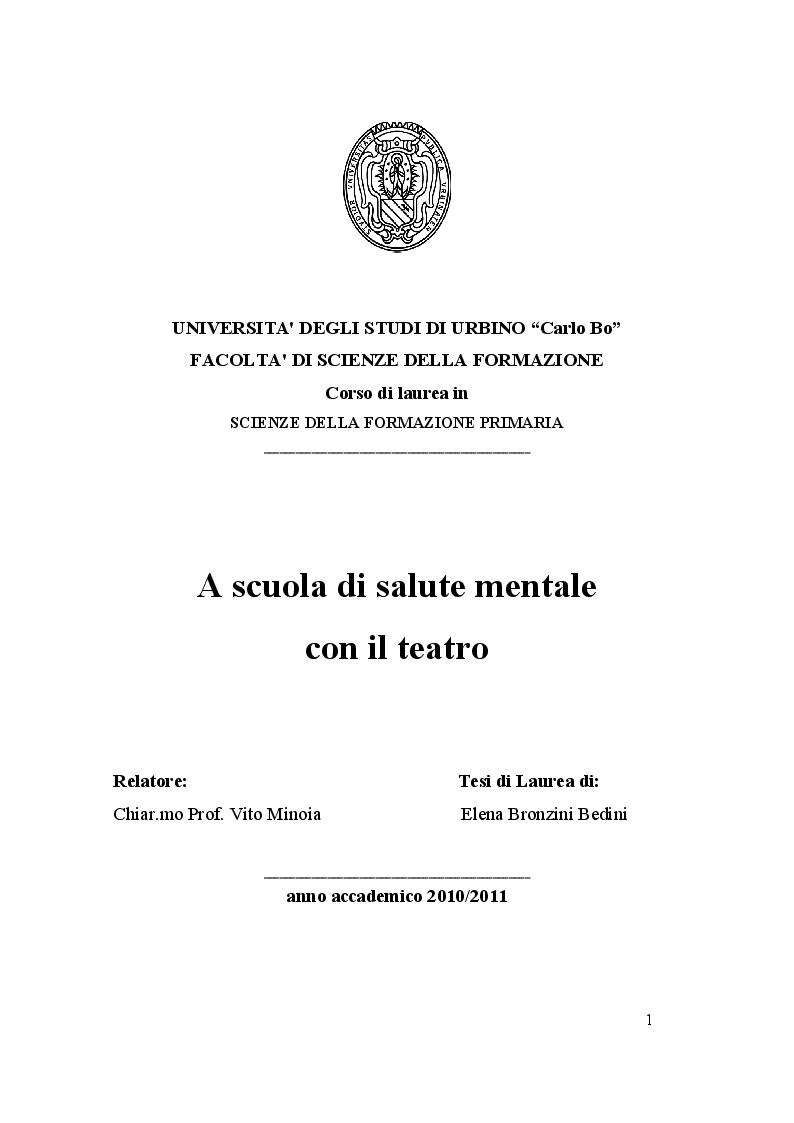 Anteprima della tesi: A scuola di salute mentale con il teatro, Pagina 1