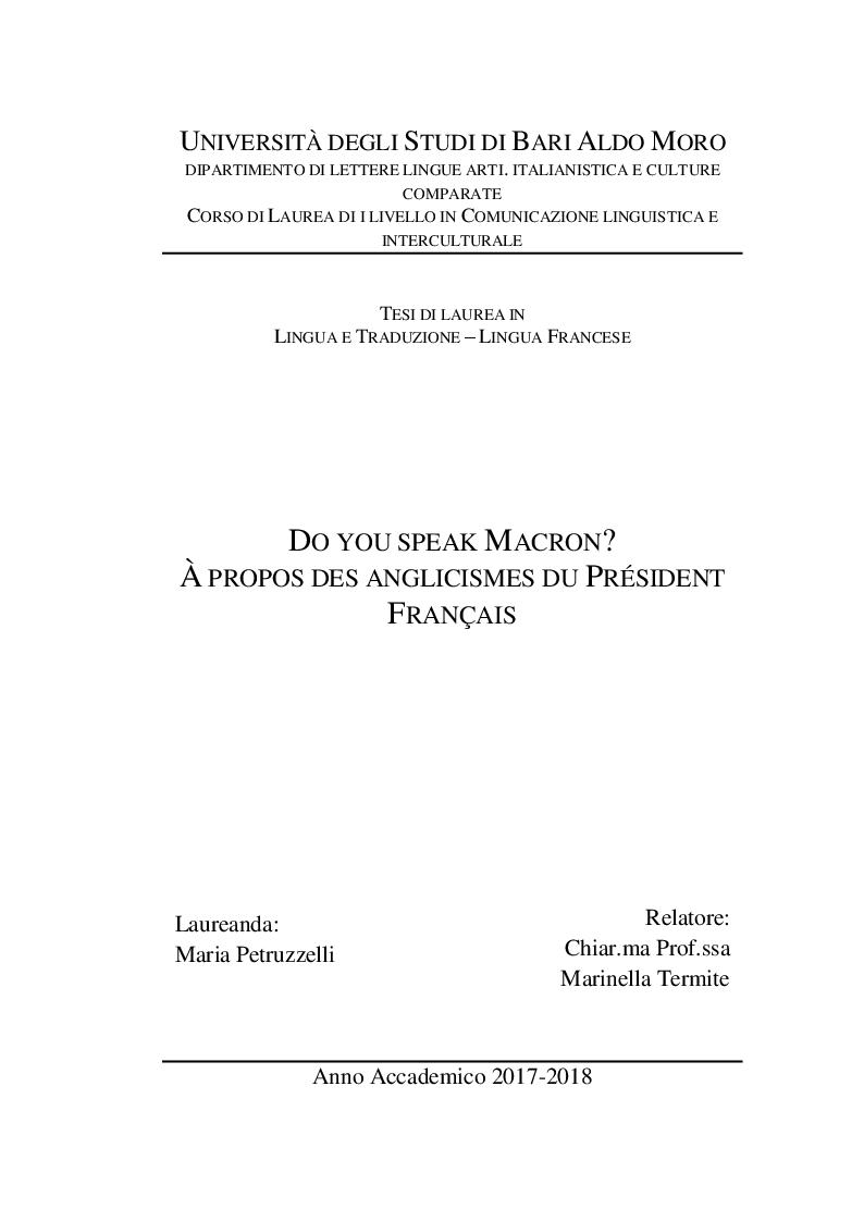 Anteprima della tesi: Do you speak Macron? À propos des anglicismes du president francais, Pagina 1