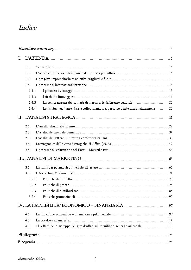 Indice della tesi: Analisi di fattibilità riguardante il processo d'internazionalizzazione di una PMI Italiana: il caso Confetti Pelino S.r.l., Pagina 1