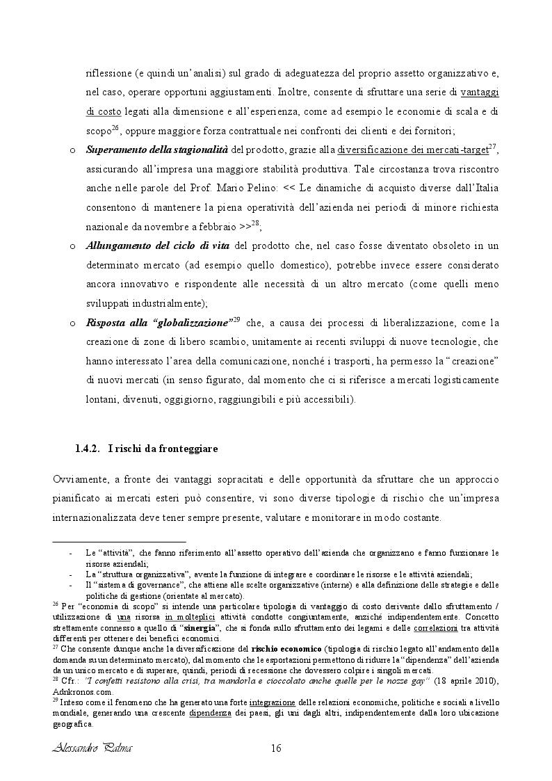 Anteprima della tesi: Analisi di fattibilità riguardante il processo d'internazionalizzazione di una PMI Italiana: il caso Confetti Pelino S.r.l., Pagina 8