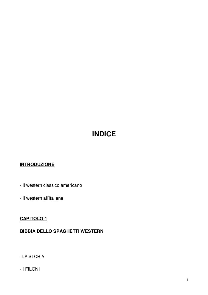 Indice della tesi: Nel dubbio, fate uno spaghetti western: l'italianità di un genere, Pagina 1