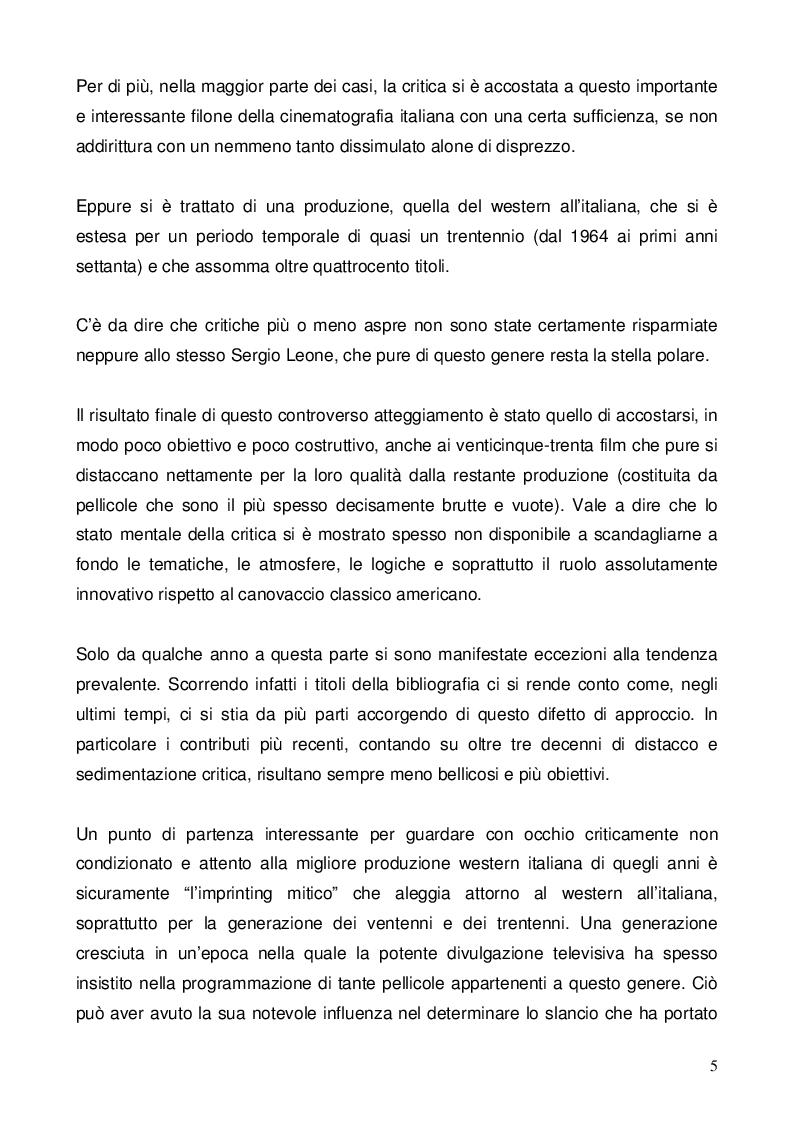 Anteprima della tesi: Nel dubbio, fate uno spaghetti western: l'italianità di un genere, Pagina 3