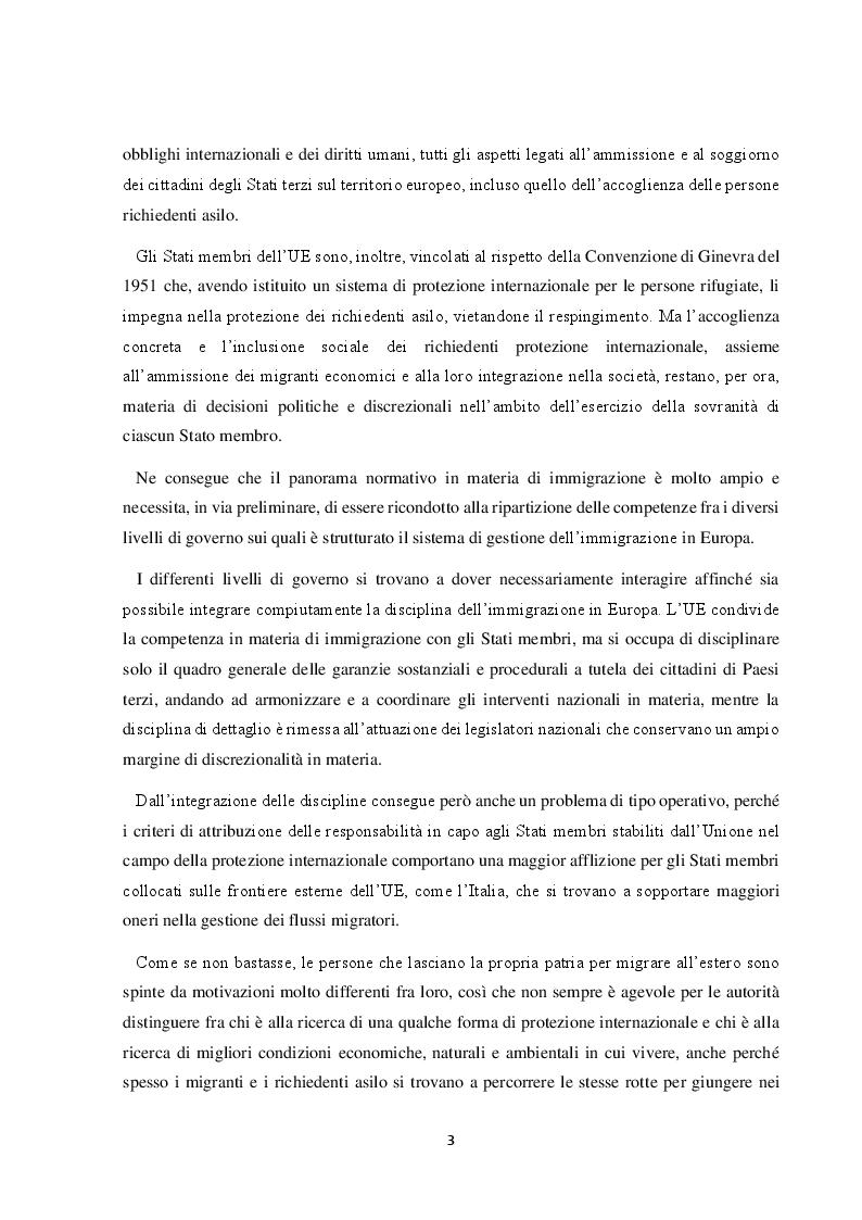 Anteprima della tesi: Il Friuli Venezia Giulia e l'attuazione della normativa dell'UE in tema di accoglienza ed integrazione dei migranti, alla luce della ripartizione delle competenze tra Stato e Regioni, Pagina 4