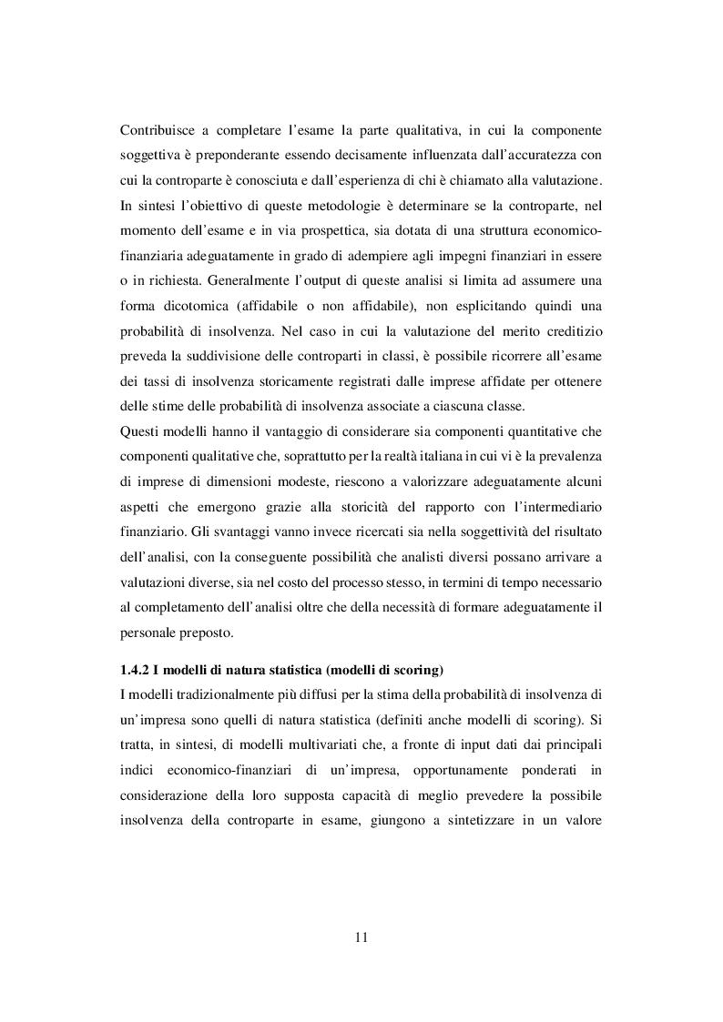 Estratto dalla tesi: I Sistemi di Rating Interni: Il caso UBI Banca