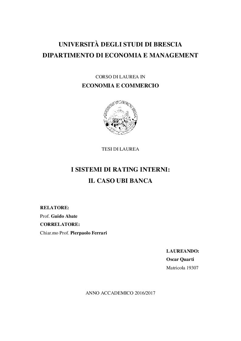 Anteprima della tesi: I Sistemi di Rating Interni: Il caso UBI Banca, Pagina 1