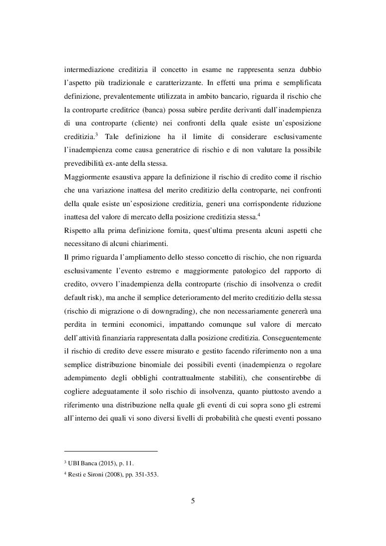 Anteprima della tesi: I Sistemi di Rating Interni: Il caso UBI Banca, Pagina 6