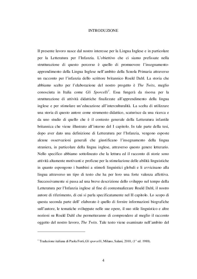 Anteprima della tesi: INSEGNARE E APPRENDERE L'INGLESE CON UN RACCONTO DI ROALD DAHL. Un progetto didattico per la scuola primaria, Pagina 2