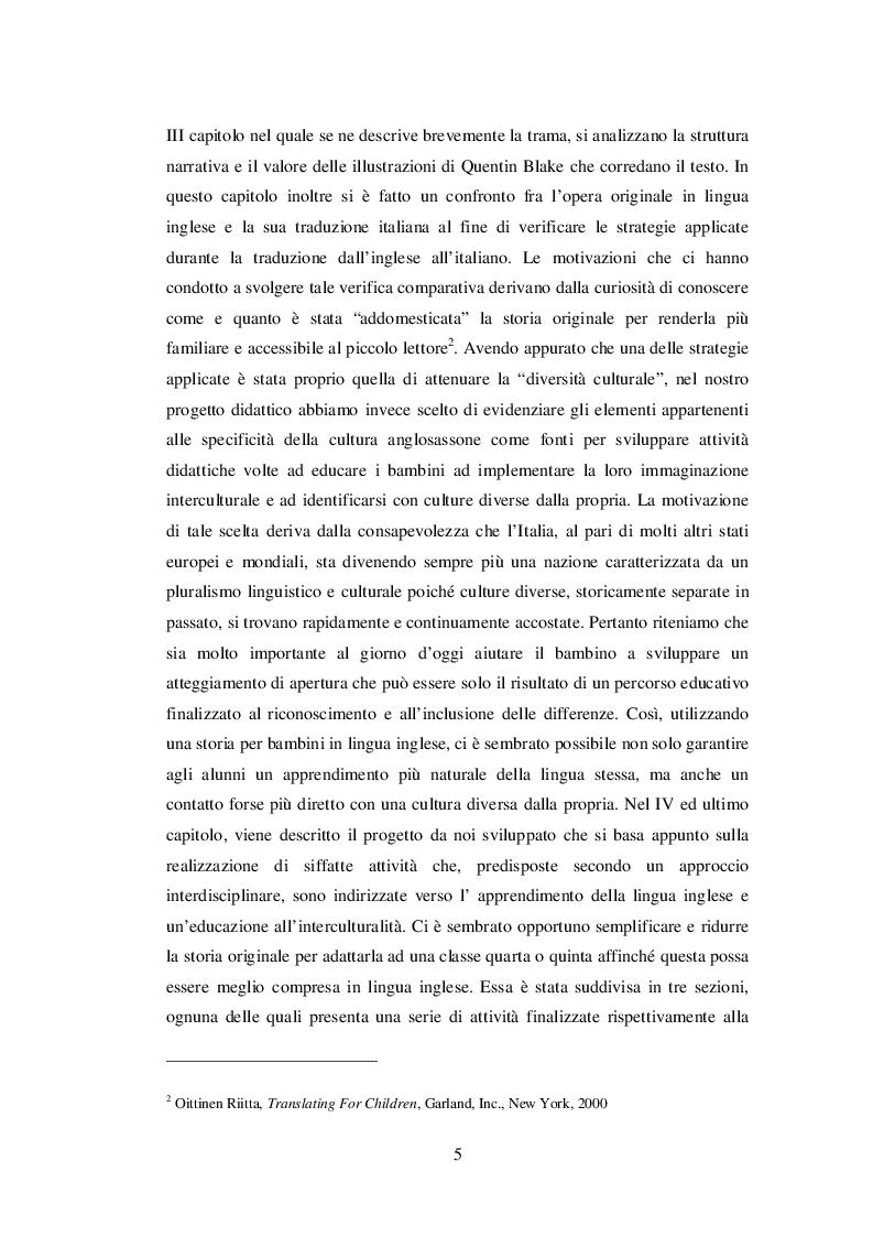 Anteprima della tesi: INSEGNARE E APPRENDERE L'INGLESE CON UN RACCONTO DI ROALD DAHL. Un progetto didattico per la scuola primaria, Pagina 3
