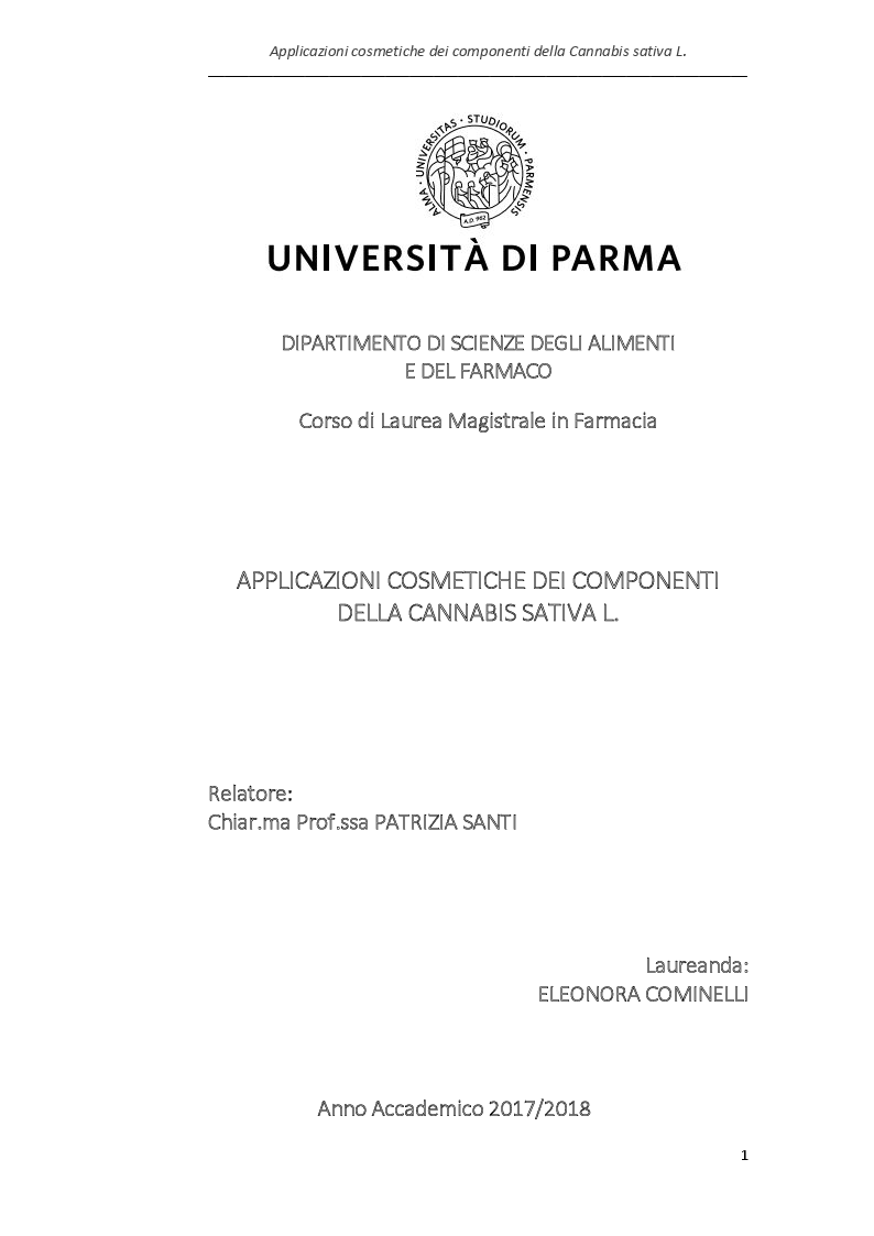 Anteprima della tesi: Applicazioni cosmetiche dei componenti della Cannabis sativa, Pagina 1