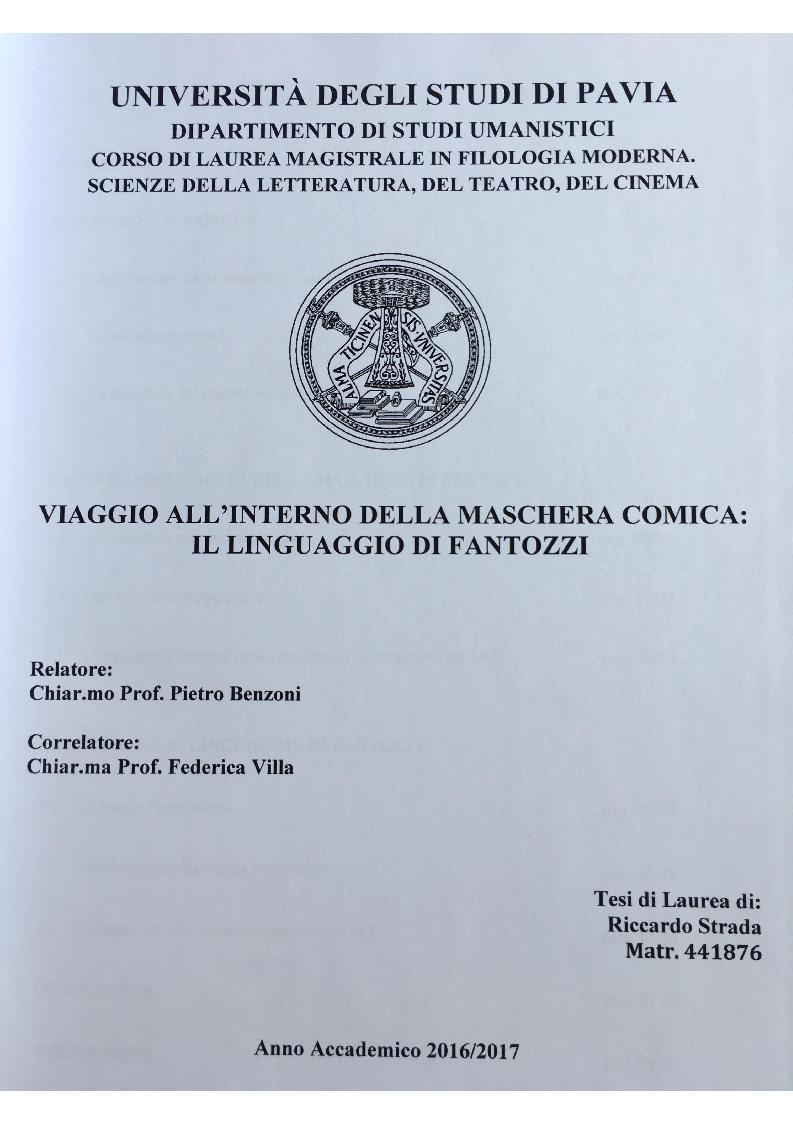 Anteprima della tesi: Viaggio all'interno della maschera comica: il linguaggio di Fantozzi, Pagina 1