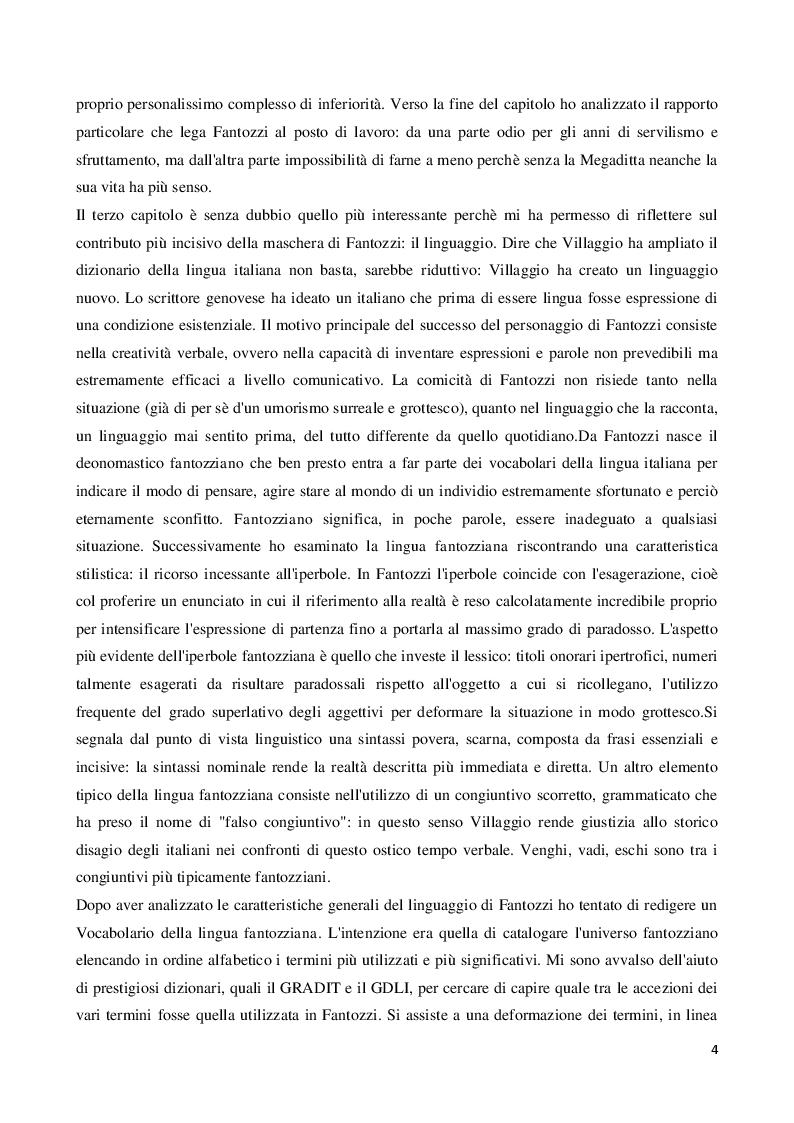 Anteprima della tesi: Viaggio all'interno della maschera comica: il linguaggio di Fantozzi, Pagina 3