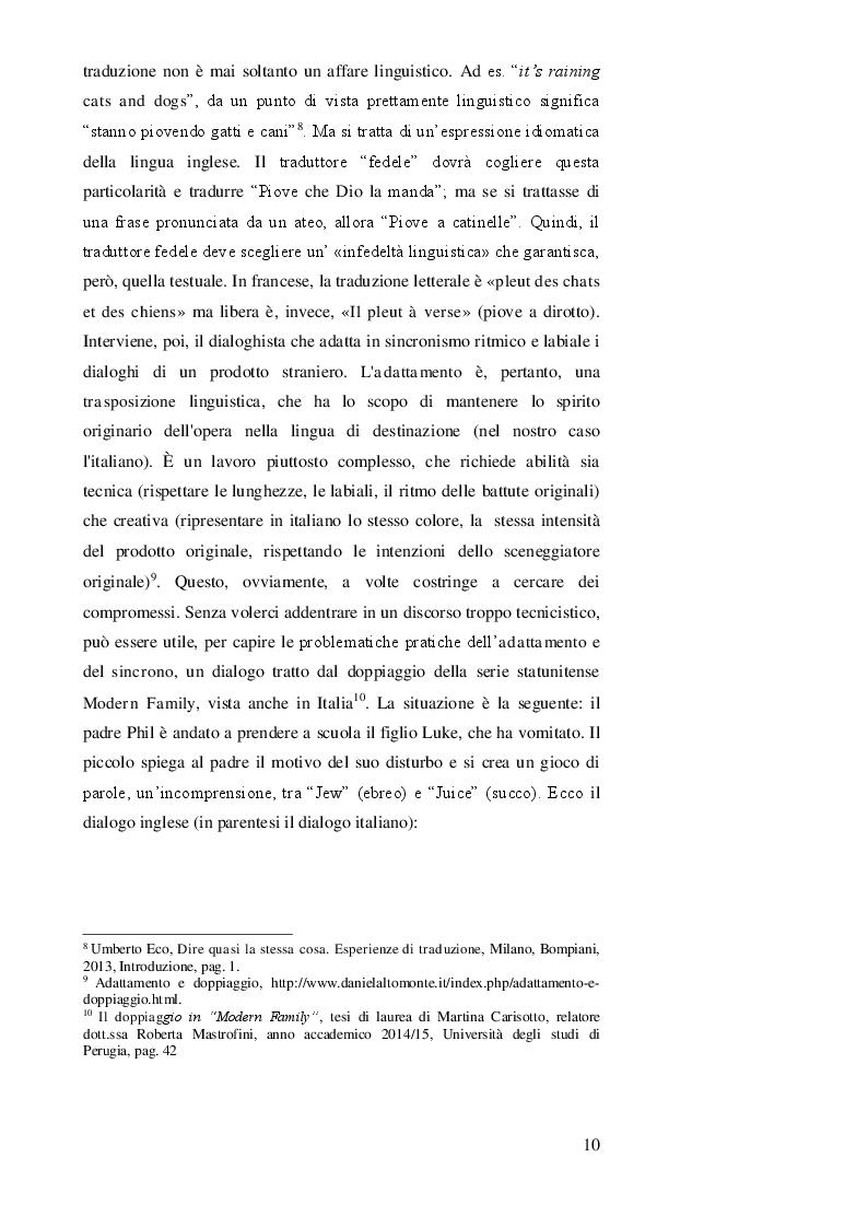 Estratto dalla tesi: DOPPIAGGIO O SOTTOTITOLAZIONE - Una scelta nell'apprendimento delle lingue straniere