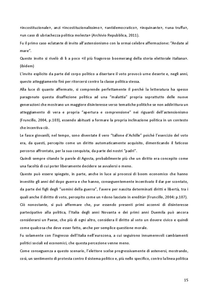 Estratto dalla tesi: L'astensionismo in Italia: chi sono i cittadini del non voto