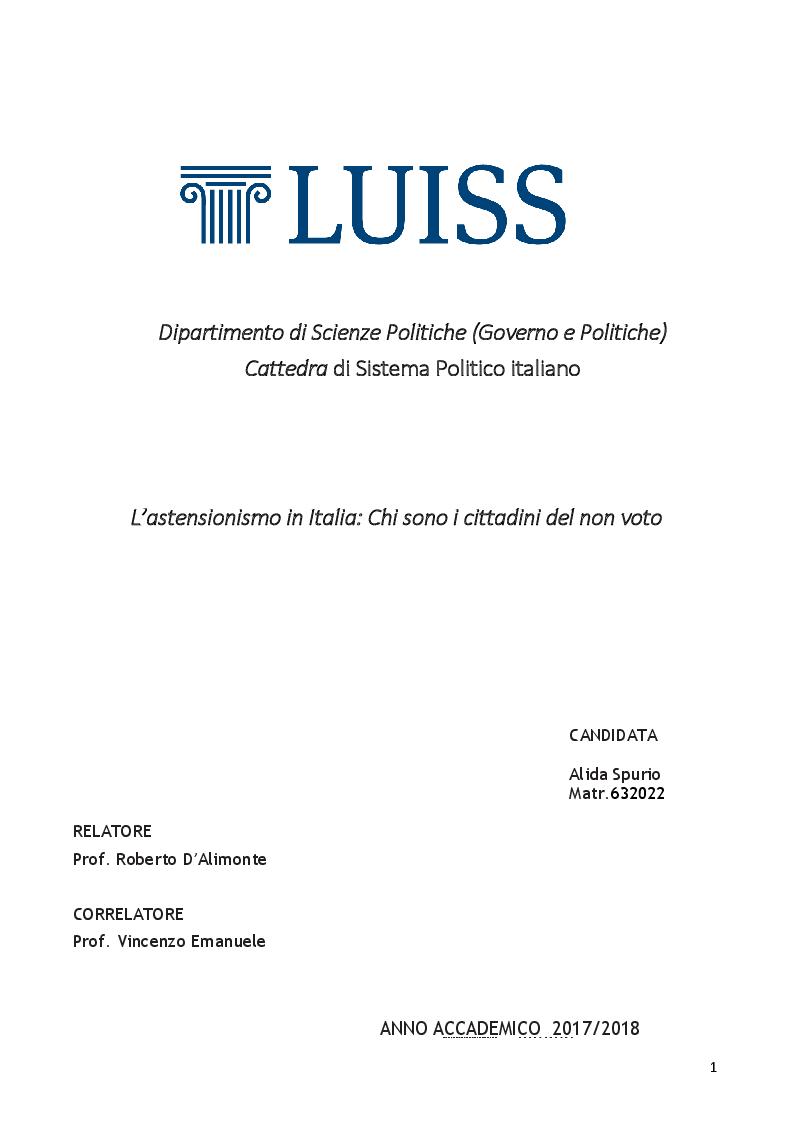 Anteprima della tesi: L'astensionismo in Italia: chi sono i cittadini del non voto, Pagina 1