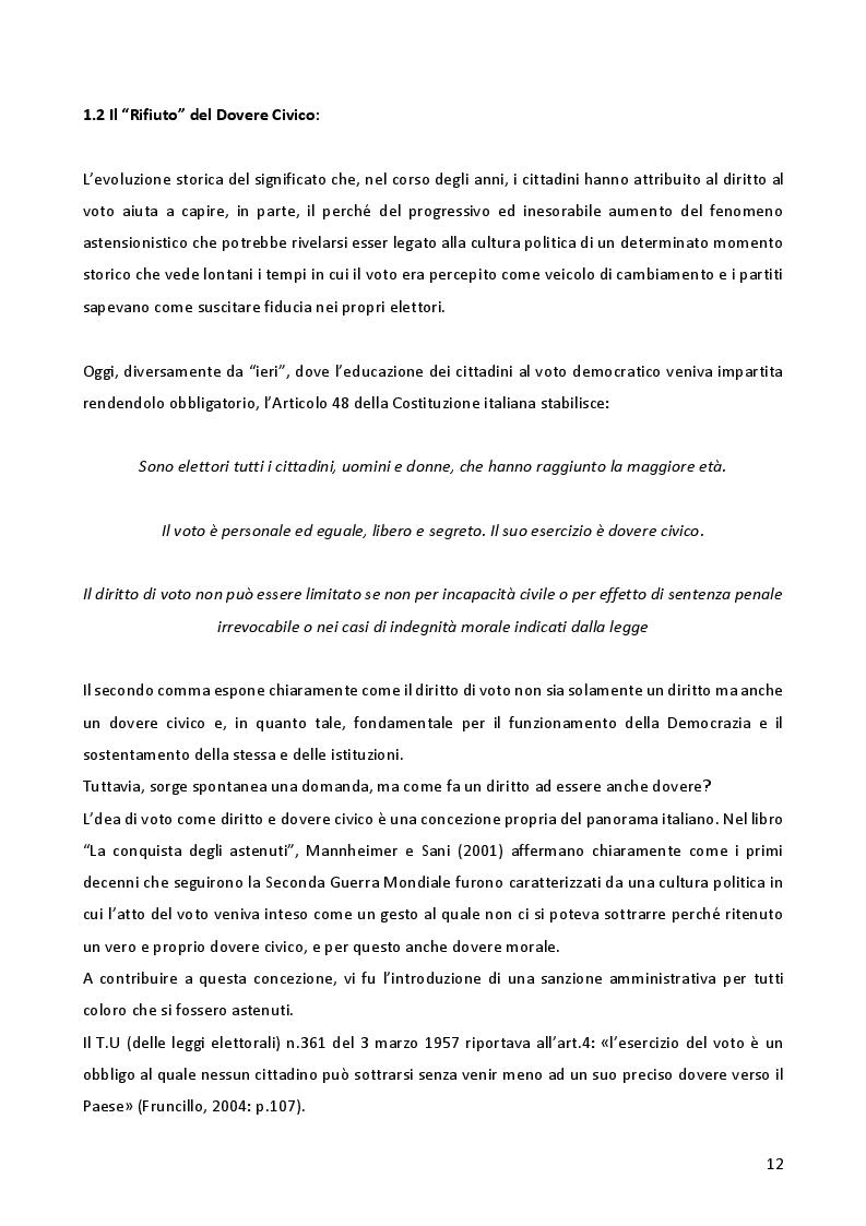 Anteprima della tesi: L'astensionismo in Italia: chi sono i cittadini del non voto, Pagina 9